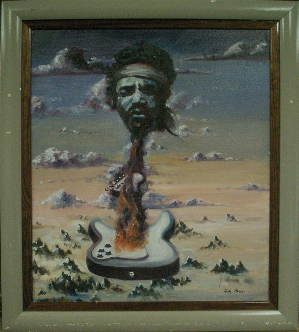 Original oil painting of Jimi Hendrix - Stratocaster by American Artist Keith Rocco. - Front 3/4 - 48100