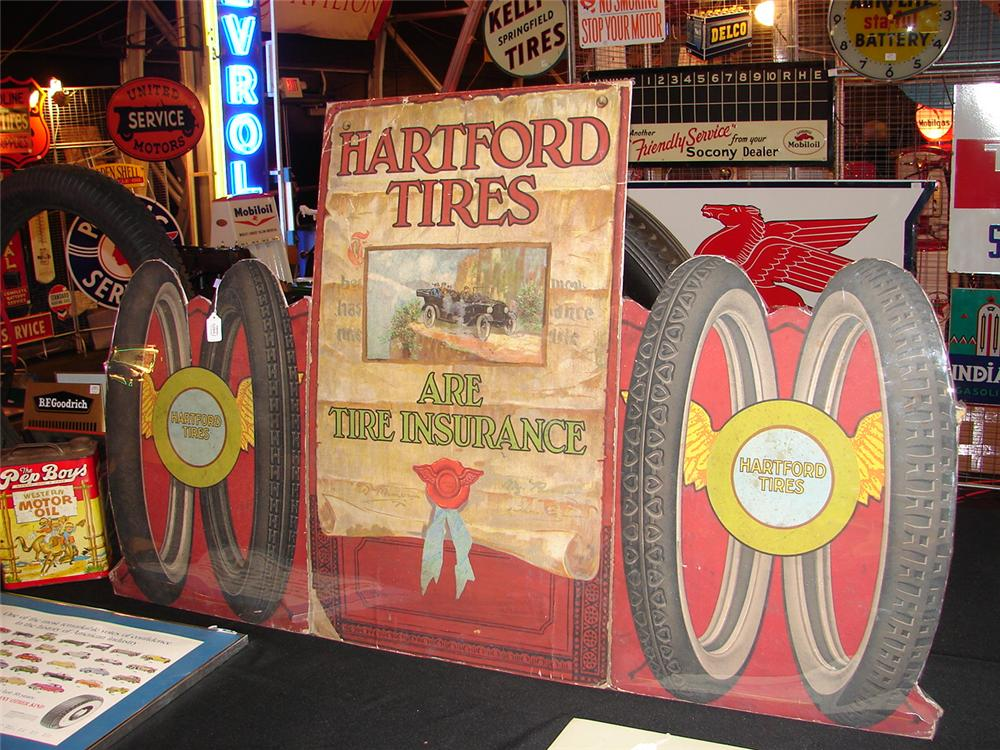 Important late teens Hartford Tires cardboard store display. - Front 3/4 - 48249