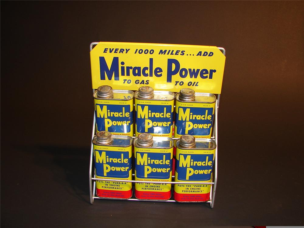 N.O.S. late 50s early 60s Miracle Power gasoline additive station display complete with tins. - Front 3/4 - 48388