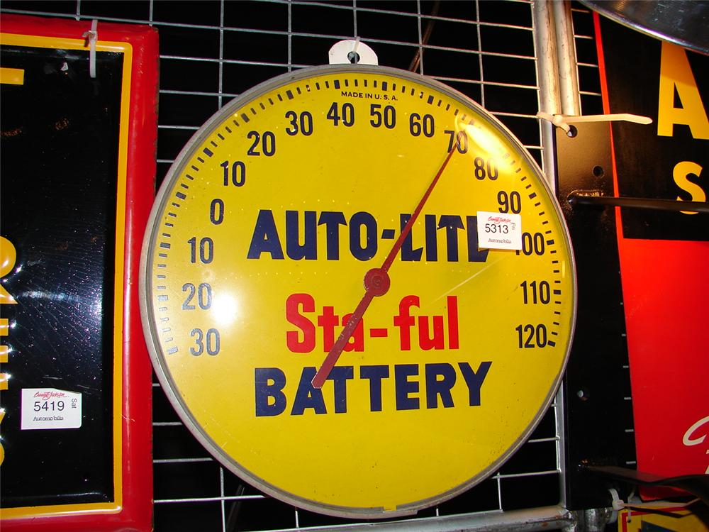 "1950s Auto-Lite Sta-Full Battery Glass faced station thermometer.  Size 12"" Diameter - Front 3/4 - 48403"
