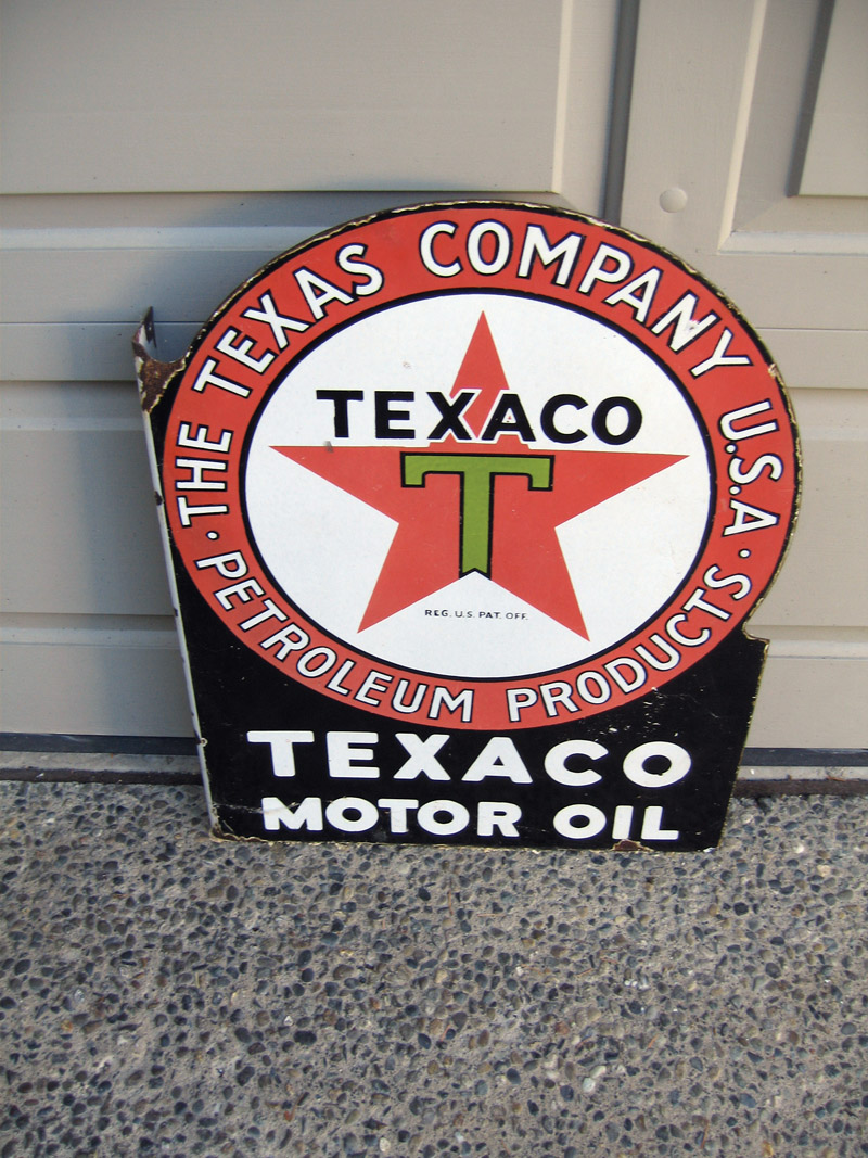 Pre-1938 Texaco Motor Oil double-sided porcelain station flange sign. - Front 3/4 - 48445