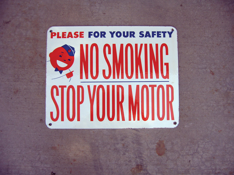 """N.O.S. 1950s Union 76 """"No Smoking"""" single-sided porcelain station aisle sign. - Front 3/4 - 48449"""