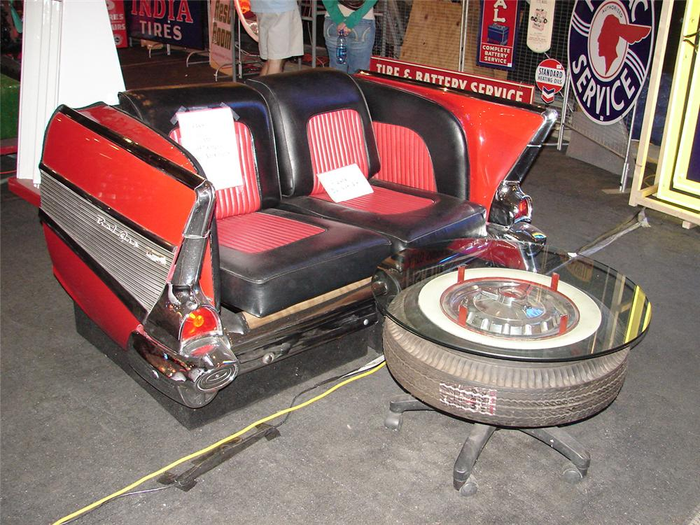 Stunning 1957 Chevy Bel-Air chairs made from the rear of an authentic 57. - Front 3/4 - 48483
