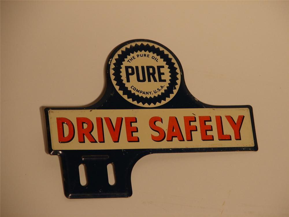 """1930s-40s Pure """"Drive Safely"""" license plate attachment sign. - Front 3/4 - 48616"""