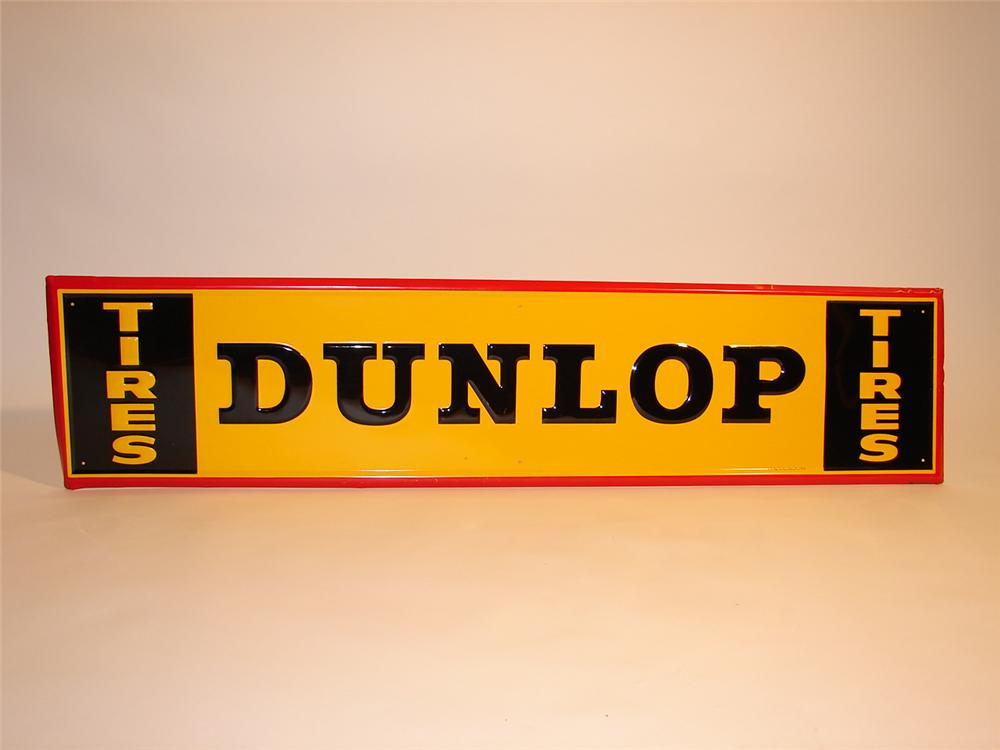 N.O.S. 1961 Dunlop Tires horizontal tin garage sign. - Front 3/4 - 48619