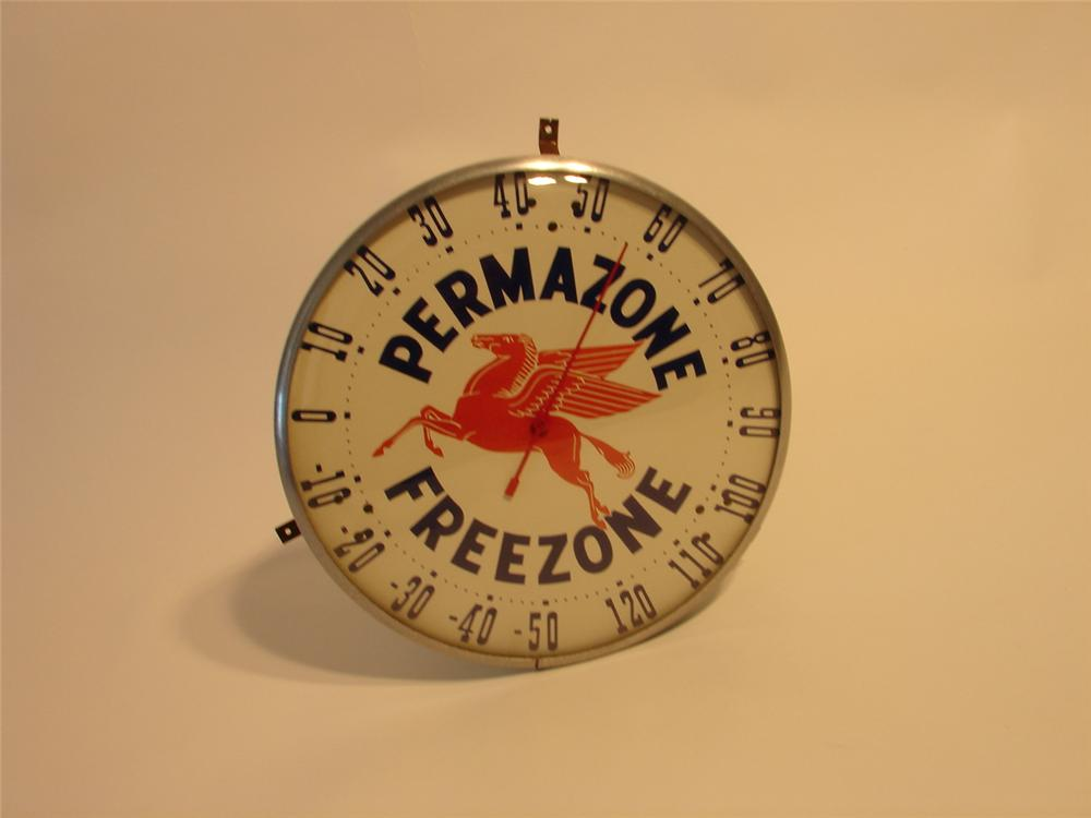 Hard to find circa 1940s-50s Mobil Freezone glass faced station thermometer. - Front 3/4 - 48620