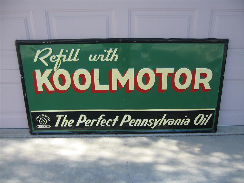 Circa 1930s Cities Service single-sided self-framed tin garage sign. - Front 3/4 - 48623