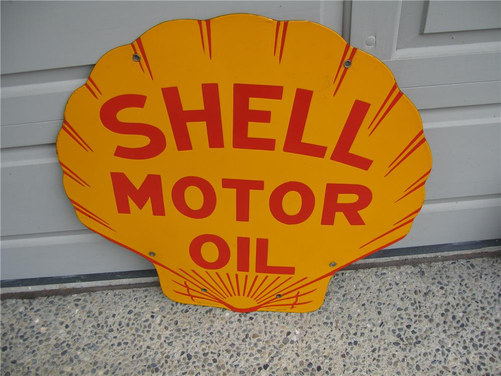 Striking 1931 Shell Motor Oil double-sided porcelain station sign. - Front 3/4 - 48624