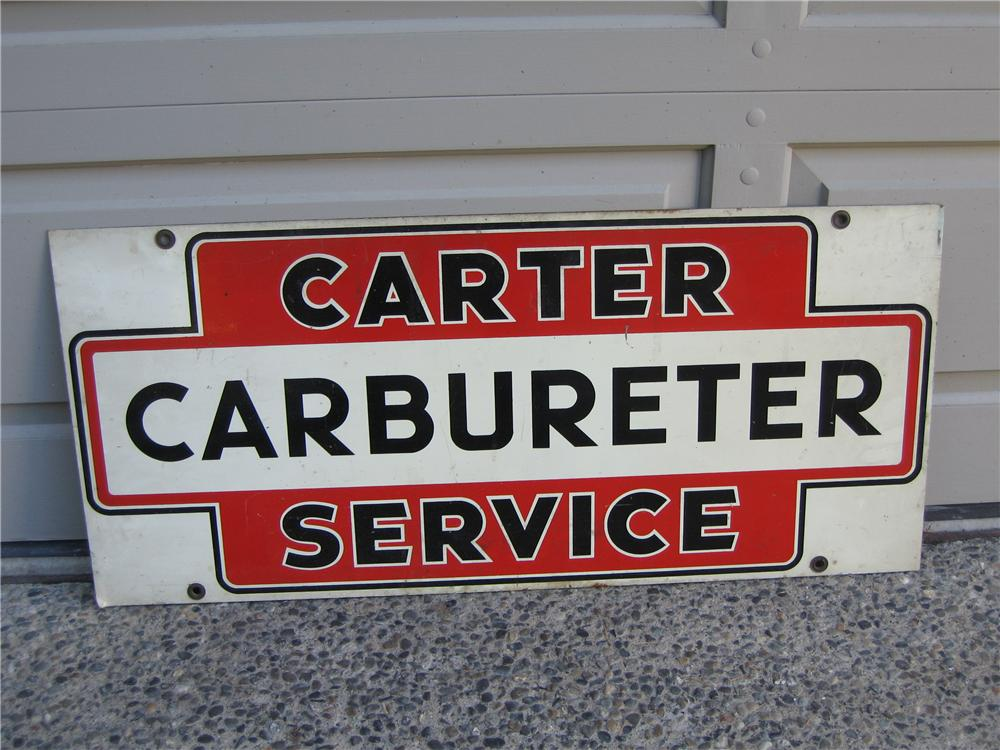1950s Carter Carburetors double-sided tin garage sign. - Front 3/4 - 48671