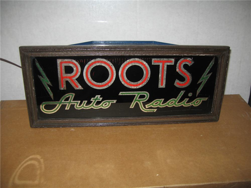 Early 1930s Roots Auto Radio counter-top light-up glass-faced display sign. - Front 3/4 - 48673