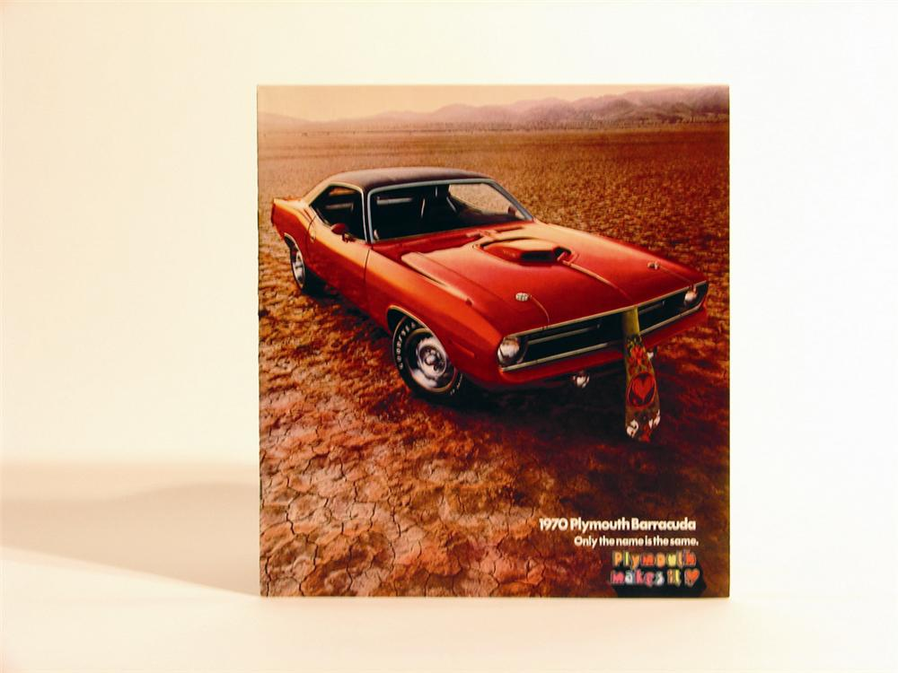 Killer 1970 Plymouth Barracuda over-sized ten page sales brochure.  Guaranteed old and original. - Front 3/4 - 49988