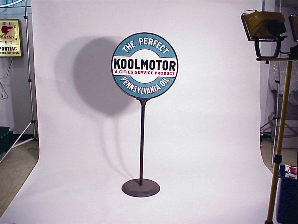 N.O.S. 1930s Cities Service KoolMotor Oil double-sided porcelain station curb sign. - Front 3/4 - 49993