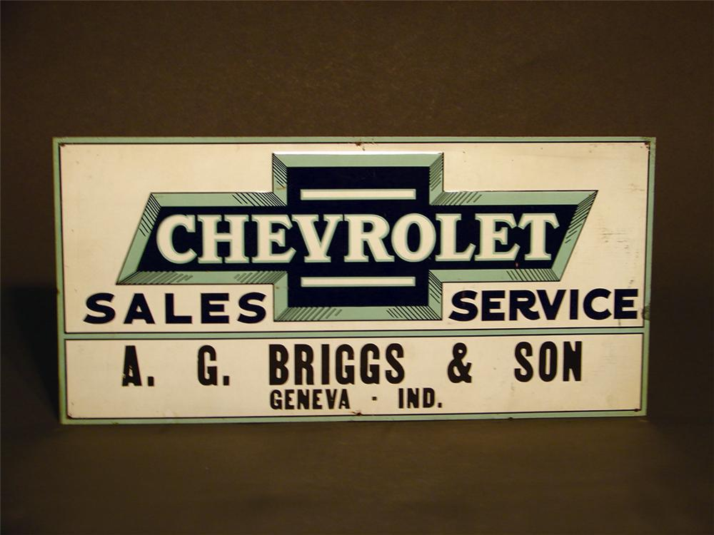 Very rare 1930s Chevrolet Sales and Service single-sided embossed tin dealership sign. - Front 3/4 - 49994