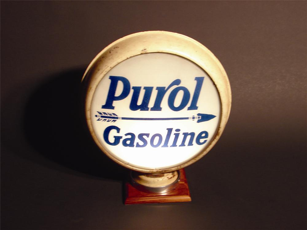 "Late 20s-early 30s Pure ""Purol Gasoline"" metal bodied gas pump globe with 15"" lenses. - Front 3/4 - 49996"
