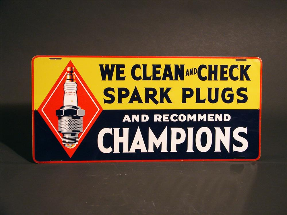 Gorgeous N.O.S. 1930s Champion Spark Plugs station sign with period plug graphic. - Front 3/4 - 49999