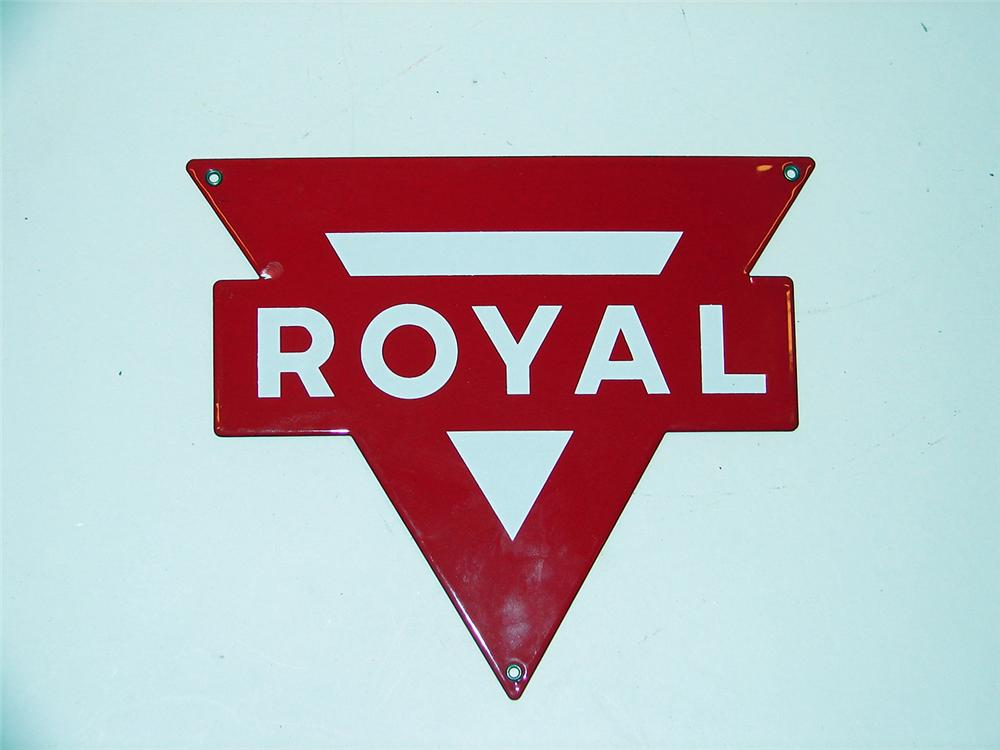 "Very clean 1950s Conoco ""Royal"" Gasoline porcelain pump plate sign. - Front 3/4 - 50051"