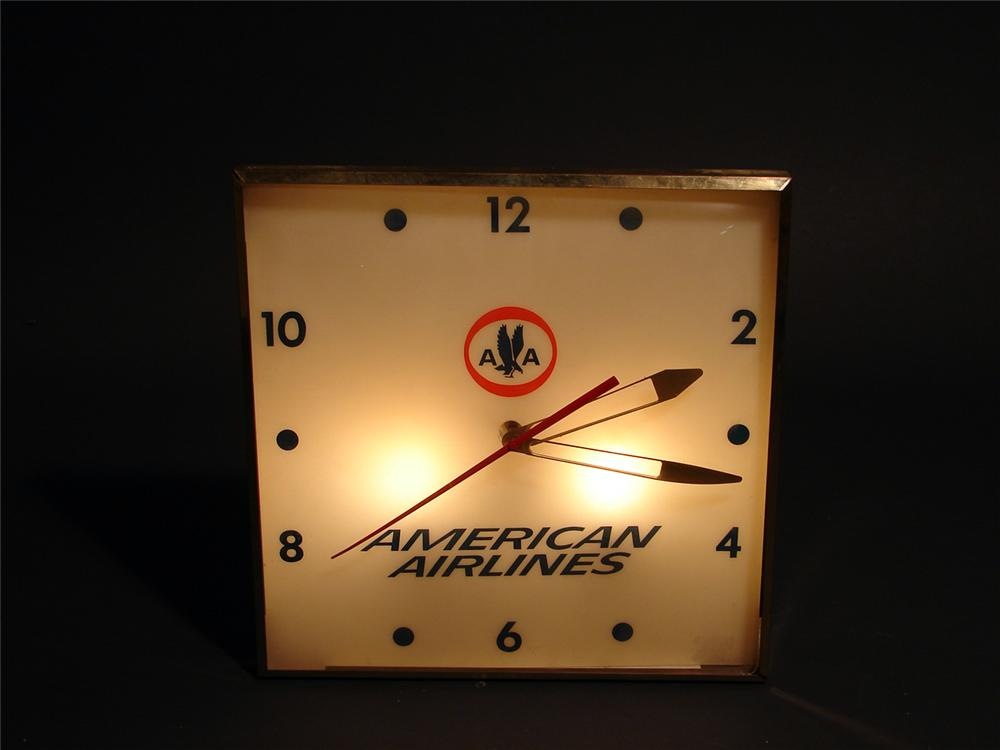 Scarce 1960s American Airlines light-up airport terminal clock. - Front 3/4 - 50056