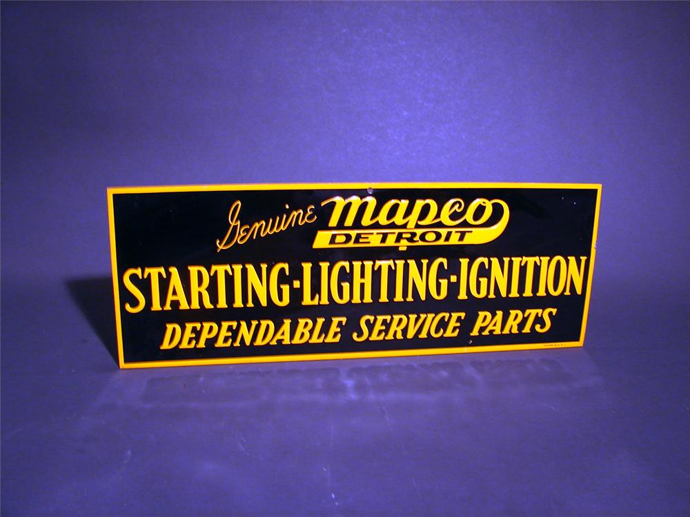 """N.O.S. 1930s Genuine Mapco """"Starting-Lighting-Ignition"""" parts single-sided tin garage sign. - Front 3/4 - 50057"""
