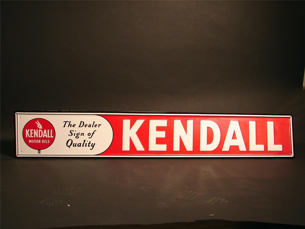 Pristine 1950s Kendall Motor Oils single-sided tin horizontal garage sign. - Front 3/4 - 50060