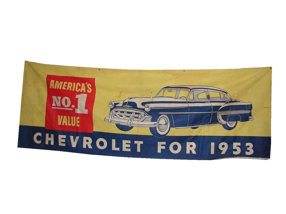 "Wonderful 1953 Chevrolet ""Americas #1"" dealership banner. - Front 3/4 - 50062"