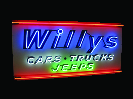 Immaculate 1940s Willys Cars-Trucks-Jeeps single-sided neon porcelain dealership sign. - Front 3/4 - 50076
