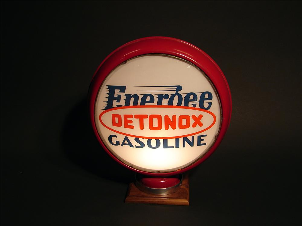 "Killer 1930s Pure ""Energee Gasoline - Detonox"" gas pump globe with N.O.S. 15"" lenses. - Front 3/4 - 50093"