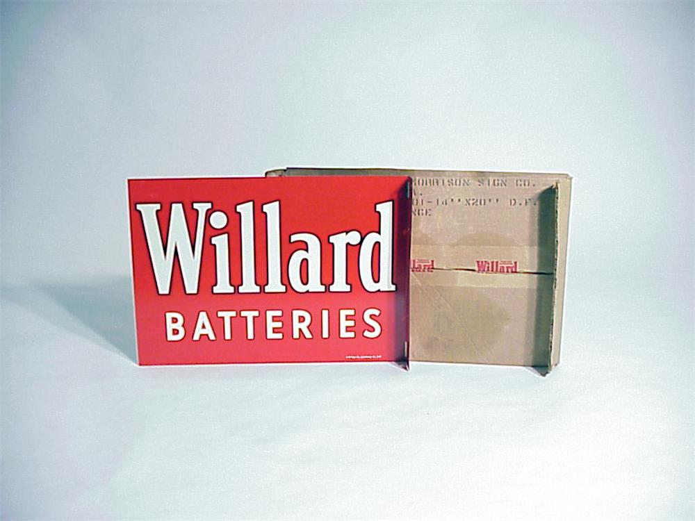 N.O.S. 1957 Willard Batteries tin painted garage flange still in the original box!! - Front 3/4 - 50096