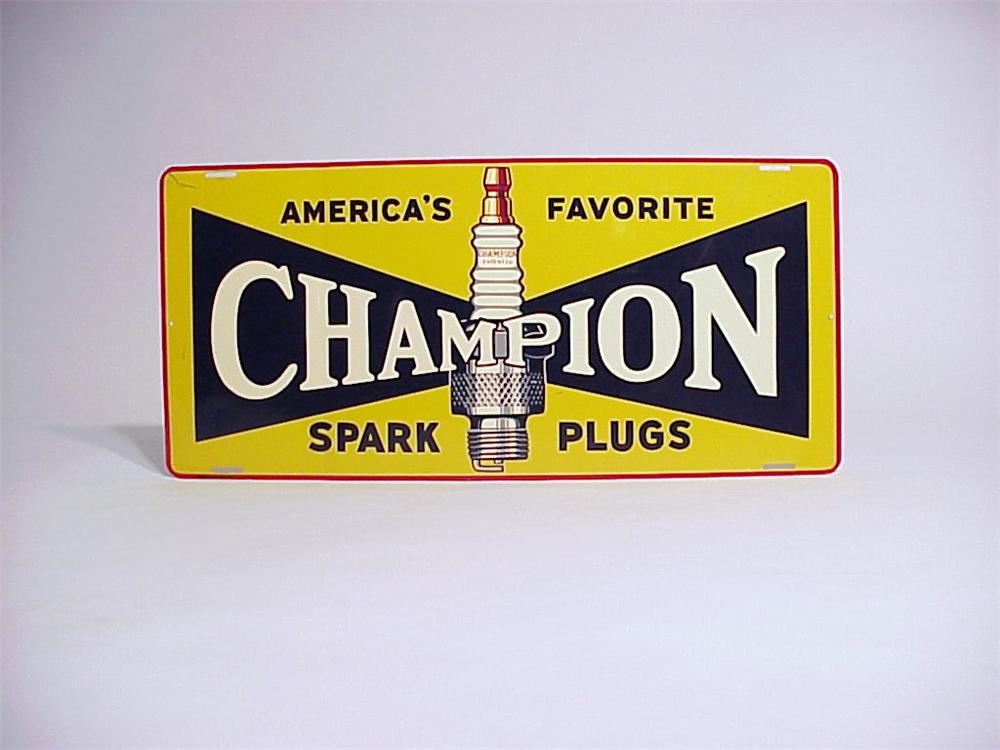 Sharp 1930s Champion Spark Plugs single-sided tin garage sign. - Front 3/4 - 50097