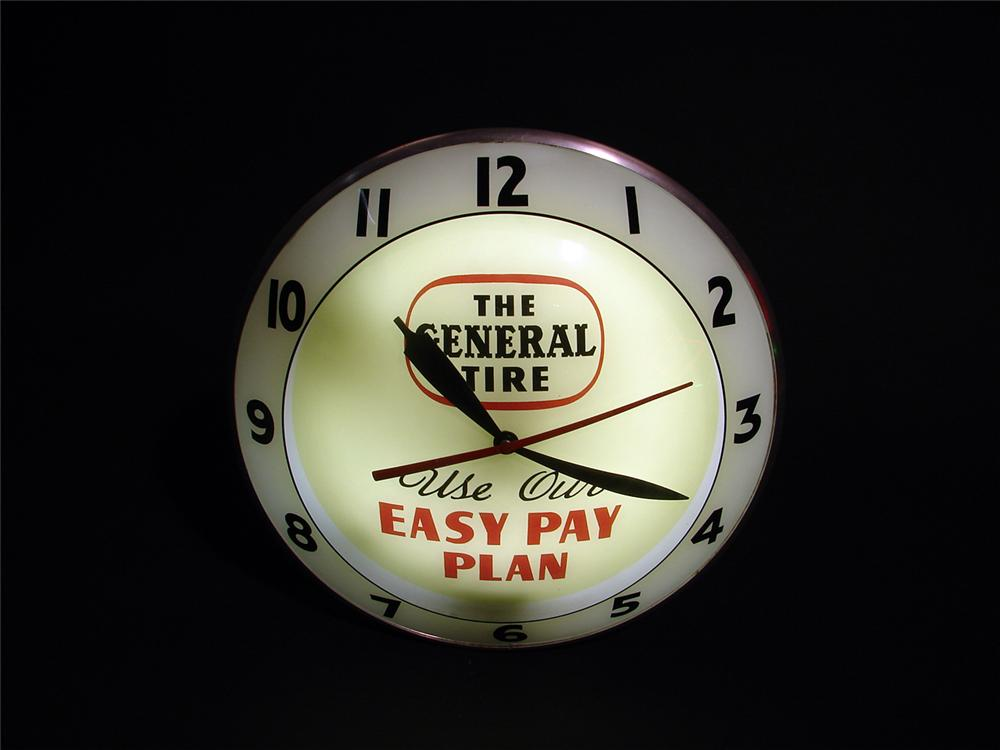 Scarce 1950s General Tires double-bubble light-up station clock. - Front 3/4 - 50099