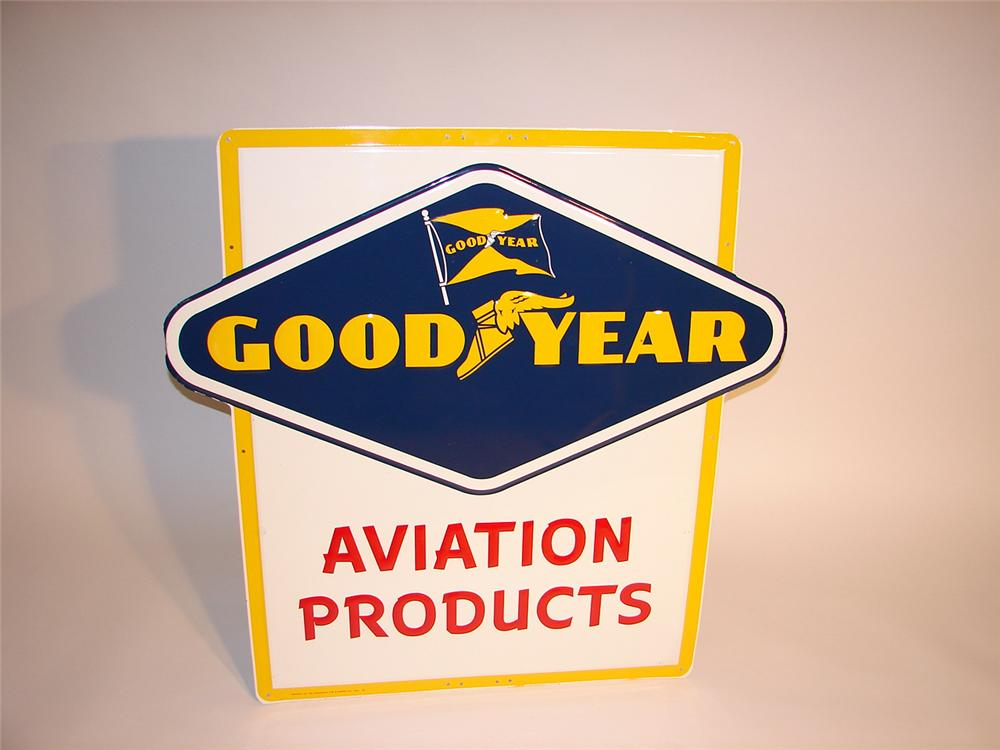 N.O.S. 1957 Goodyear Aviation Products single-sided embossed airport sign. - Front 3/4 - 50102
