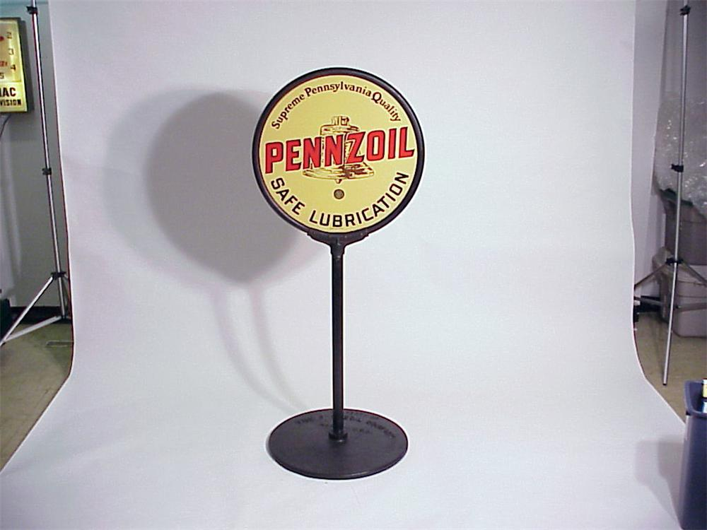 Killer N.O.S. 1930s Pennzoil Motor Oil double-sided curb sign on stand. - Front 3/4 - 50103