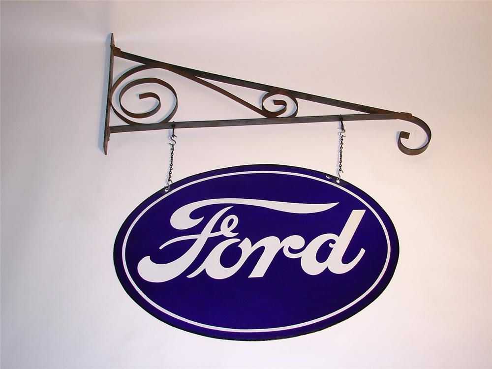 Unusual 1930s Ford double-sided porcelain dealership sign with original hanging bracket. - Front 3/4 - 50107