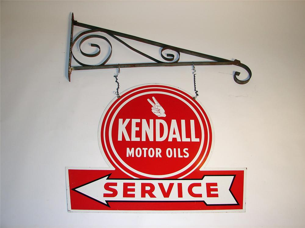 Stylish 1950s Kendall Motor Oil Double Sided Die Cut Tin