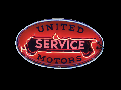 Sophisticated 1930s United Service single-sided porcelain garage sign. - Front 3/4 - 50113