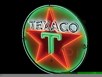 Phenomenal 1950s Texaco single-sided porcelain neon station sign. - Front 3/4 - 50114