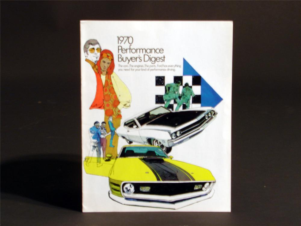Stellar 1970 Ford Performance Digest sales brochure featuring Boss 302, Mach 1 and others. - Front 3/4 - 50147