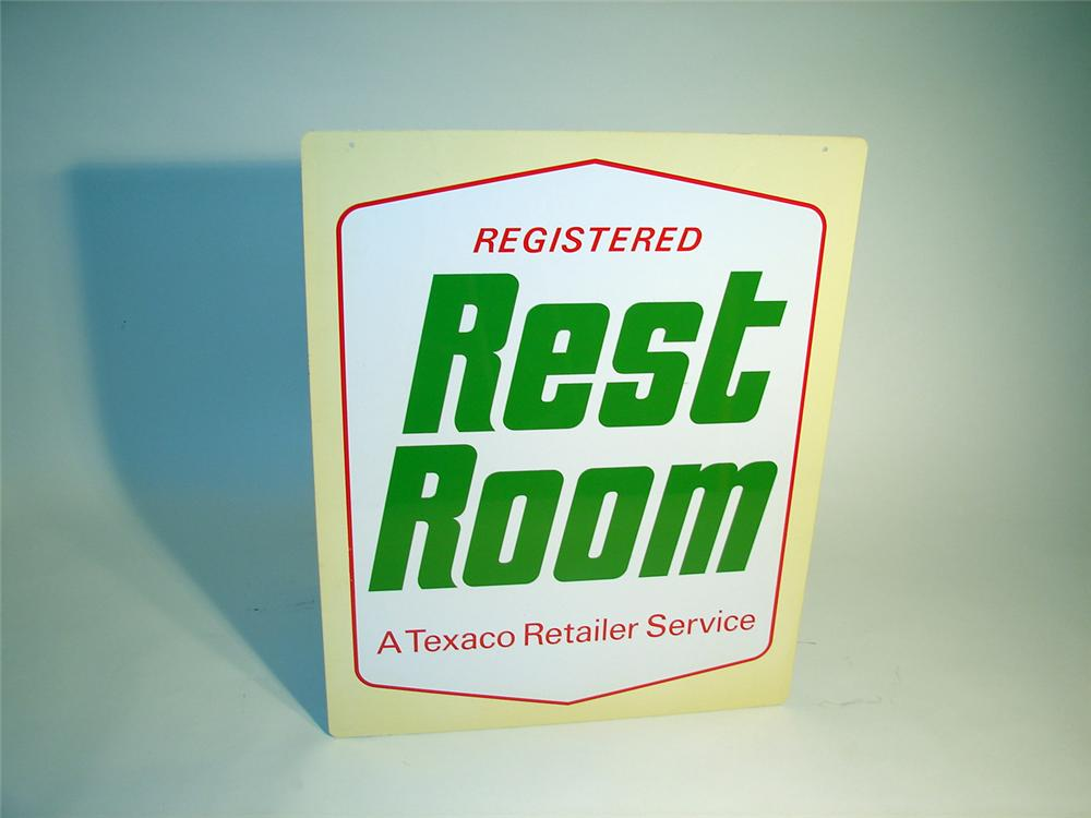 "N.O.S. 1960s Texaco ""Registered Rest Rooms""  double-sided tin garage sign. - Front 3/4 - 50148"