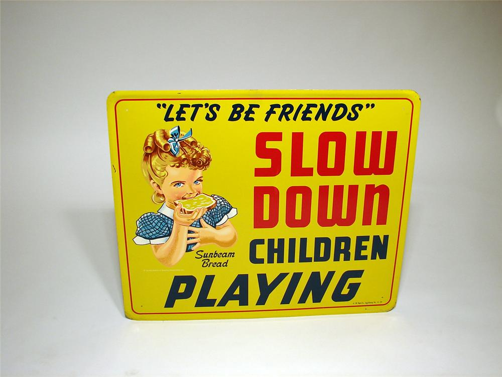"""Adorable N.O.S. 1959 Sumbeam Bread """"Slow Down"""" school zone embossed tin sign. - Front 3/4 - 50150"""