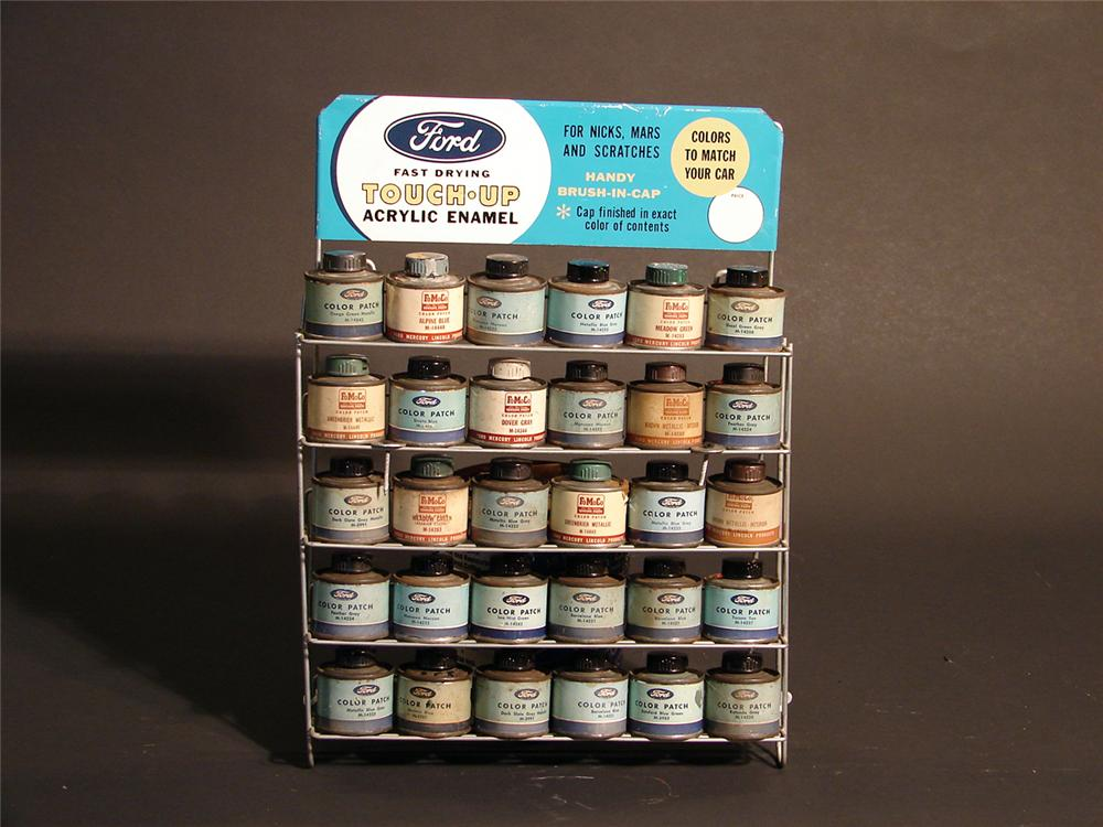 1960s Ford Touch-Up service department counter-top display with original tins. - Front 3/4 - 50154