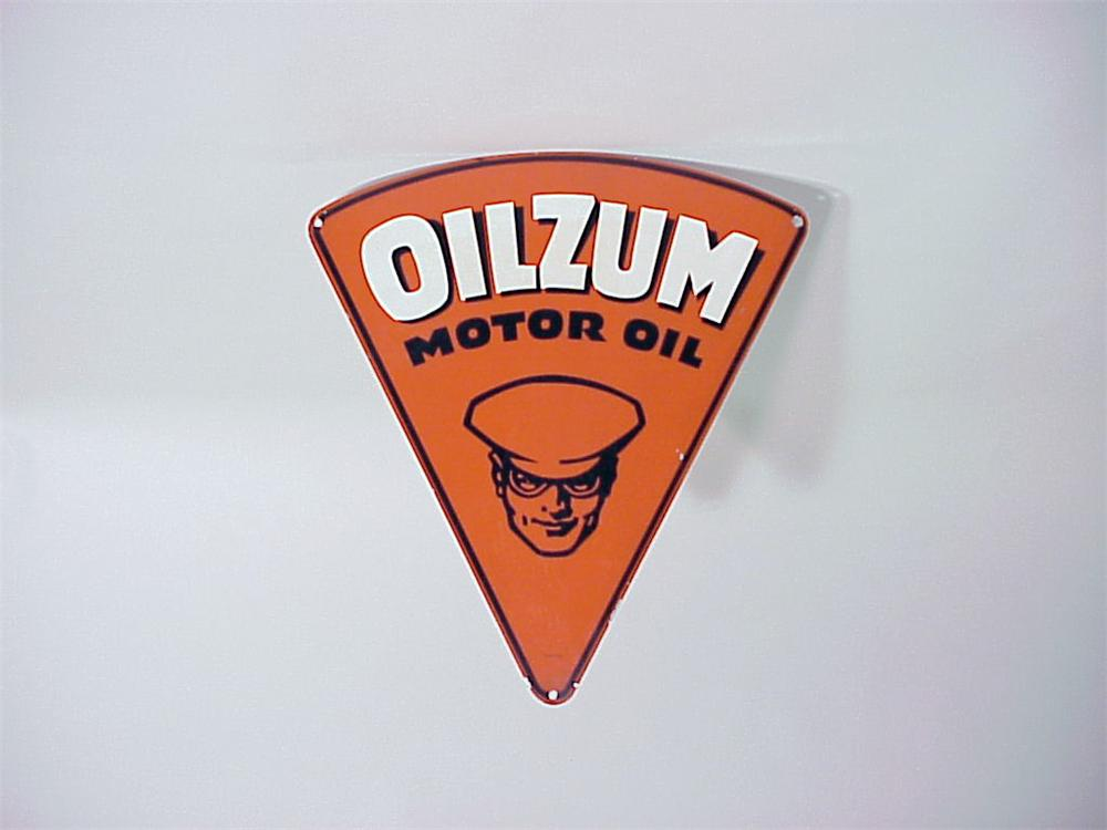 Highly sought after N.O.S. 1949 Oilzum Motor Oil single-sided tin station sign. - Front 3/4 - 50156