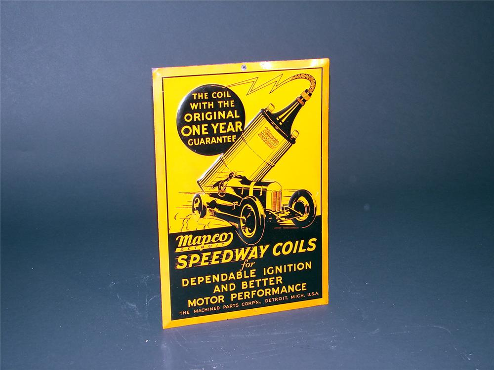 Killer N.O.S. 30s Mapco Ignition Coils single-sided embossed tin garage sign with outstanding period race graphics. - Front 3/4 - 50157