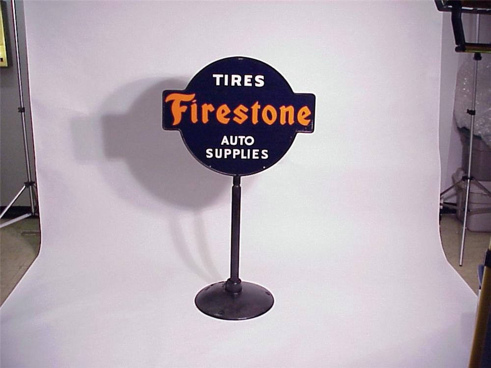Very clean 1930s Firestone Tires - Auto Supplies double-sided porcelain garage curb sign on original stand. - Front 3/4 - 50165