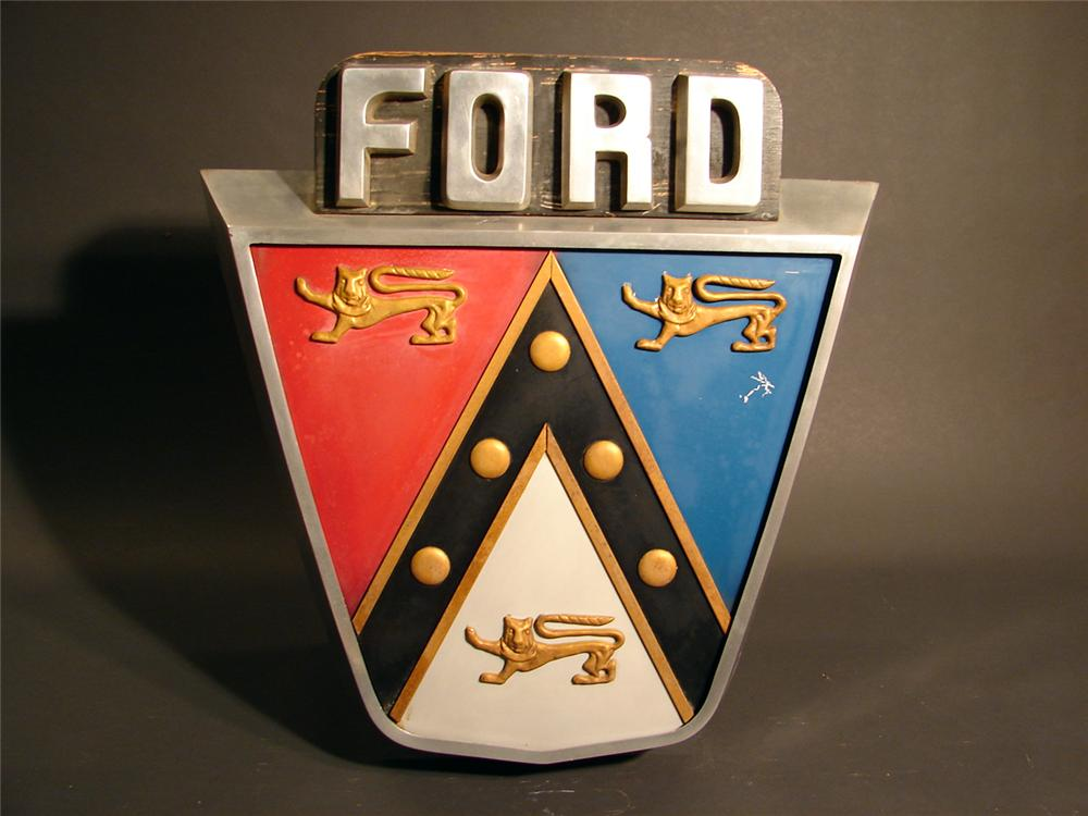 Fantastic 1950s Ford Jubilee crest dealership showroom sign made of cast aluminum. - Front 3/4 - 50168