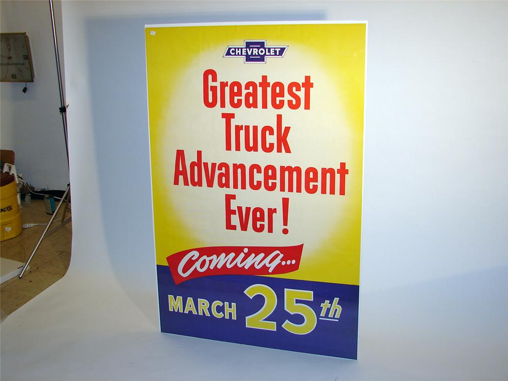 "N.O.S. 1950s Chevrolet ""Truck Advancement"" over-sized dealership poster. - Front 3/4 - 50177"