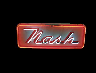 Unusual 1950s Nash Automobiles single-sided porcelain neon dealership sign. - Front 3/4 - 50180