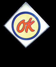 Awesome early 1960s Chevrolet OK Used Cars single-sided light-up dealership sign. - Front 3/4 - 50181