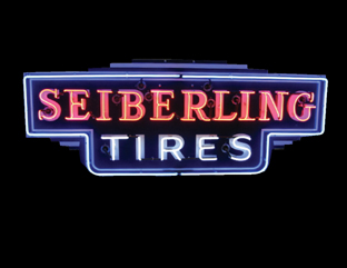 1930s Sieberling Tires single-sided neon porcelain dealership sign. - Front 3/4 - 50182