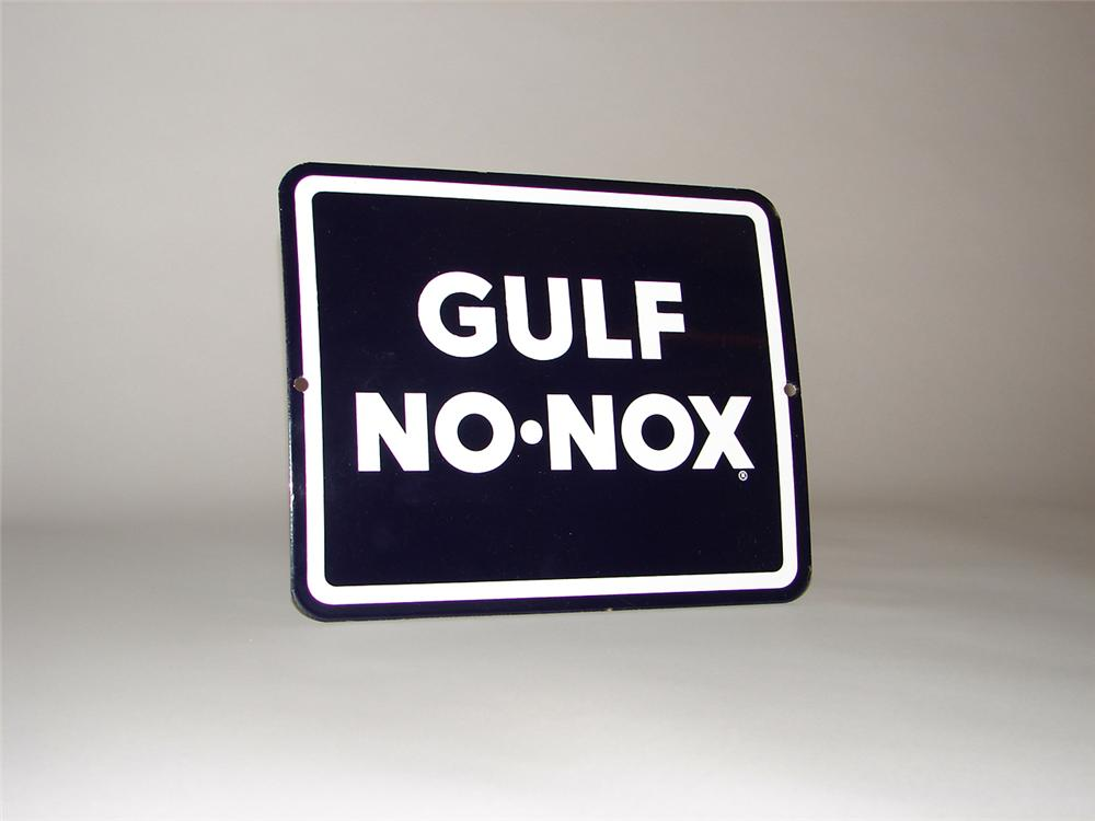 N.O.S. 1960s Gulf No-Nox porcelain pump plate sign. - Front 3/4 - 50258
