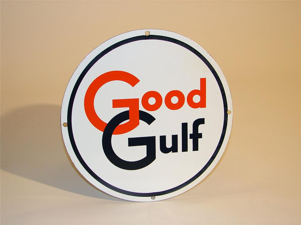 N.O.S. late 50s Good Gulf Gasoline porcelain pump plate sign. - Front 3/4 - 50259
