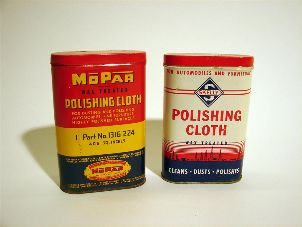 Lot of two 1950s Automotive Polishing Cloth tins (Mopar and Skelly). - Front 3/4 - 50262